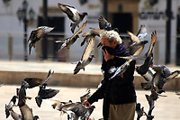 TUNJA-COLOMBIA, 16-04-2020: Un hombre camina en medio de las palomas en la Plaza de Bolivar en Tunja, durante la cuarentena total en el territorio colombiano causada por la pandemia  del Coronavirus, COVID-19. / A man walks among the pigeons in the Plaza de Bolivar in Tunja, during the total quarantine in the Colombian territory caused by the Coronavirus pandemic, COVID-19. / Photo: VizzorImage /Darlin Bejarano / Cont.