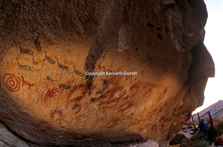 DOH, Who were the first Americans, Rock Art, 11670 years old, Cueva de los Manos, Cave of the Hands, Patagonia, the animals are guanacos..