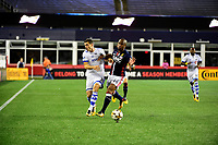 September 9, 2017 - Foxborough, Mass: New England Revolution defender Claude Dielnma (44) and Montreal Impact midfielder Blerim Dzemaili (31) battle for the ball  during the MLS game between the Montreal Impact and the New England Revolution held at Gillette Stadium in Foxborough Massachusetts. Revolution defeat Impact 1-0. Eric Canha/CSM
