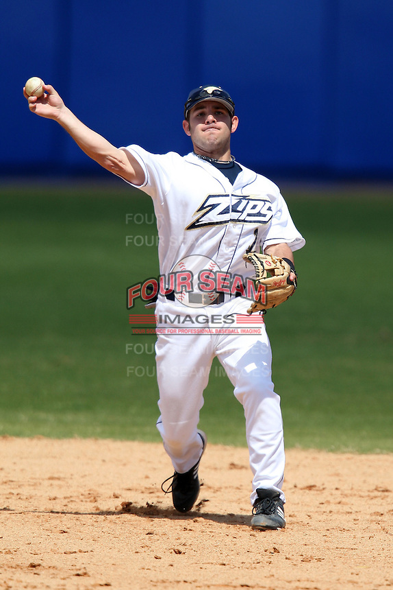 March 14, 2010:  Second Baseman Nick Solitario (2) of the Akron Zips vs. the Yale Bulldogs in a game at Chain of Lakes Park in Winter Haven, FL.  Photo By Mike Janes/Four Seam Images