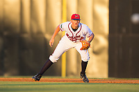 Danville Braves first baseman Griffin Benson (16) on defense against the Elizabethton Twins at American Legion Post 325 Field on July 1, 2017 in Danville, Virginia.  The Twins defeated the Braves 7-4.  (Brian Westerholt/Four Seam Images)