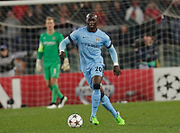 Manchester City's Eliaquim Mangala  during the Champions League Group E soccer match between As Roma and Manchester City  at the Olympic Stadium in Rome December 10 , 2014.