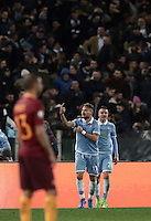 Calcio, Serie A: Roma, stadio Olimpico, 1marzo 2017.<br /> Lazio's Ciro Immobile celebrates after scoring during the Italian TIM Cup 1st leg semifinal football match between Lazio and AS Roma at Rome's Olympic stadium, on March 1, 2017.<br /> UPDATE IMAGES PRESS/Isabella Bonotto