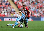 28th May 2018, Wembley Stadium, London, England;  EFL League 2 football, playoff final, Coventry City versus Exeter City; Jordan Tillson of Exeter City puts pressure in Marc McNulty of Coventry City