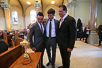 LATROBE, PA - OCTOBER 4: (L-R) Ricky Fowler, Bubba Watson and Phil Mickelson embrace after putting the Ryder Cup on display during a Celebration of Arnold Palmer at Saint Vincent College on October 4, 2016 in Latrobe, Pa. (Photo by Hunter Martin/Getty Images) *** Local Caption *** Ricky Fowler;Bubba Watson;Phil Mickelson