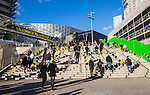 Solna 2014-03-31 Fotboll Allsvenskan AIK - IFK G&ouml;teborg :  <br /> Publik p&aring; v&auml;g till Friends Arena inf&ouml;r matchen mellan AIK och G&ouml;teborg<br /> (Foto: Kenta J&ouml;nsson) Nyckelord:  AIK Gnaget Solna IFK G&ouml;teborg Bl&aring;vitt supporter fans publik supporters