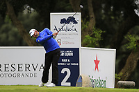Paul Waring (ENG) tees off the 2nd tee during Saturday's rain delayed Round 2 of the Andalucia Valderrama Masters 2018 hosted by the Sergio Foundation, held at Real Golf de Valderrama, Sotogrande, San Roque, Spain. 20th October 2018.<br /> Picture: Eoin Clarke | Golffile<br /> <br /> <br /> All photos usage must carry mandatory copyright credit (&copy; Golffile | Eoin Clarke)
