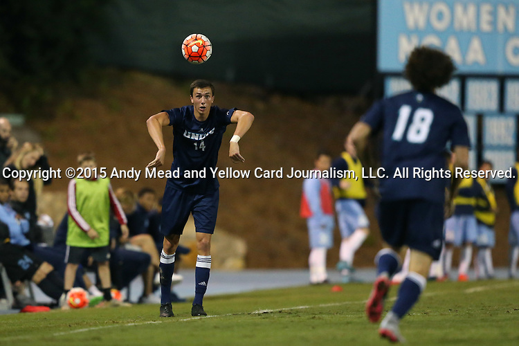 06 October 2015: UNCW's Brayden Smith (14) throws the ball towards Jordan Cordero (18). The University of North Carolina Tar Heels hosted the University of North Carolina Wilmington Seahawks at Fetzer Field in Chapel Hill, NC in a 2015 NCAA Division I Men's Soccer match. North Carolina won the game 3-0.