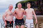 At the Connie Harnett Memorial Swim in Ballybunion on New Year's Day were Dan McCarthy, John Collins and Michael Lane
