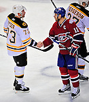 22 April 2009: Boston Bruins' right wing forward Michael Ryder is congratulated by Montreal Canadiens center, Team Captain, and former teammate Saku Koivu from Finland at the Bell Centre in Montreal, Quebec, Canada. The Bruins advance to the Eastern Semi-Finals, eliminating the Canadiens from Stanley Cup competition with their 4-1 win and series sweep. ***** Editorial Sales Only ***** Mandatory Credit: Ed Wolfstein Photo