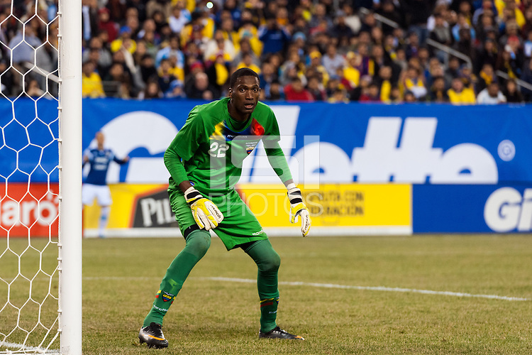 Ecuador goalkeeper Alexander Dominguez (22). Argentina and Ecuador played to a 0-0 tie during an international friendly at MetLife Stadium in East Rutherford, NJ, on November 15, 2013.