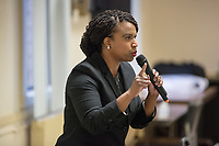 Ayanna Pressley speaks at an event put on by Chelsea Black Community at the Chelsea Senior Center in Chelsea, Massachusetts, USA, on Wed., June 27, 2018. Pressley is running in the Democratic primary Massachusetts 7th Congressional District against incumbent Mike Capuano. Pressley is currently serving as a member of the Boston City Council, and is the first woman of color elected to the Council.