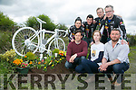 Ghost Bicycle, Kerry's First memorial of its kind in memory of Killarney Cyclist Ed Duggan who was killed last year on the road. Pictured front l-r Peter Duggan, Siobhan Dwyer, Rauri Condon Back l-r Patricia Leen, Mike Kissane, Noel Doherty and Mark Williams