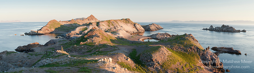 Sea of Cortez, Baja California, Mexico; a panoramic view of Salsipuedes Island in late afternoon sunlight