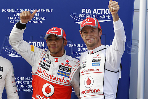 24 03 2012  FIA Formula One World Championship 2012 Grand Prix of Malaysia 4 Lewis Hamilton GBR Vodafone McLaren Mercedes (pole) and Jenson Button GBR Vodafone McLaren Mercedes on the podium