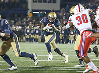 Annapolis, MD - November 11, 2017: Navy Midshipmen fullback Chris High (33) runs the ball during the game between SMU and Navy at  Navy-Marine Corps Memorial Stadium in Annapolis, MD.   (Photo by Elliott Brown/Media Images International)
