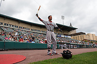 Pawtucket Red Sox outfielder Quintin Berry (17) warms up before a game against the Rochester Red Wings on July 1, 2015 at Frontier Field in Rochester, New York.  Rochester defeated Pawtucket 8-4.  (Mike Janes/Four Seam Images)