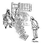 (Gutenberg at his new printing press prints outs a news paper announcing his invention)