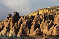Fairy chimneys and cliffs in the Devrent Valley, known as Imagination Valley, near Goreme in Nevsehir province, Cappadocia, Central Anatolia, Turkey. The rock formations here were made by erosion of the volcanic tuff created by ash from volcanic eruptions millions of years ago, and many resemble figures or animals, such as camels, snakes, seals and dolphins. This area forms part of the Goreme National Park and the Rock Sites of Cappadocia UNESCO World Heritage Site. Picture by Manuel Cohen
