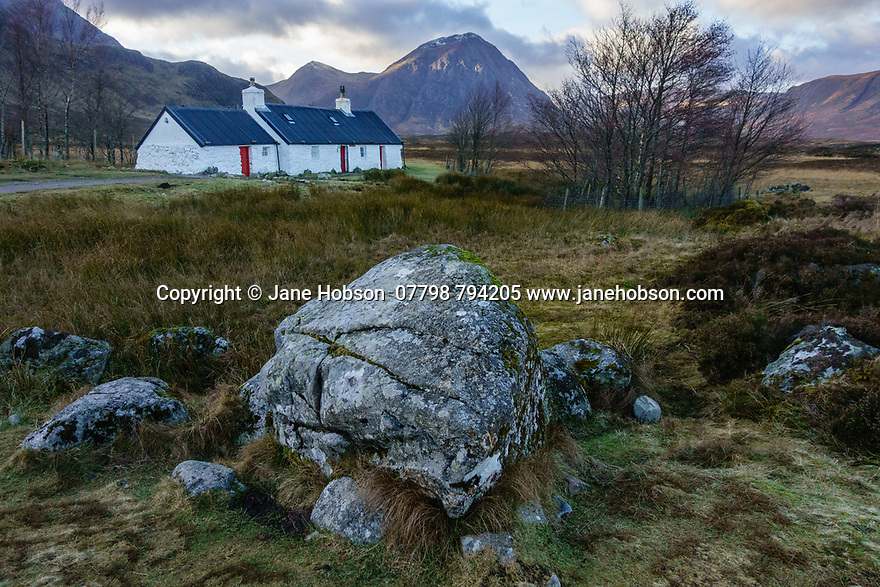 Glencoe, Highlands, Scotland, UK. 08.01.2019. Black Rock Cottage, on a winter's afternoon, Glencoe, HIghlands, Scotland, UK. Photograph © Jane Hobson.