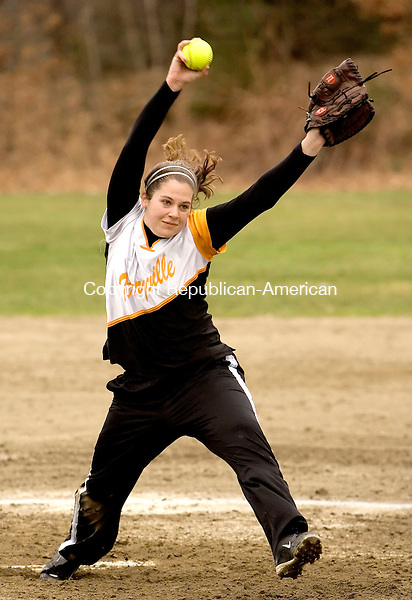 PLYMOUTH, CT--18 APRIL 2007--041807JS05-Terryville's Ashley Hogan delivers a pitch during their 3-1 win over Nonnewaug Wednesday at Main Street School in Plymouth.<br /> Jim Shannon / Republican-American