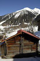 Wooden chalet/shed used for housing animals in the winter.Ritzingen in the Swiss alps- close to the Furkapass, Oberwald, Switzerland.