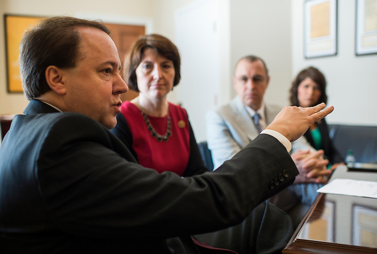UNITED STATES - MAY 20: From left, Rep. Pat Tiberi, R-Ohio, Republican Conference Chairwoman Cathy McMorris Rodgers, R-Wash., Rep. Matt Salmon, R-Ariz., and Rep. Kristi Noem, R-S.D., speak to reporters about the Trade Priorities and Accountability Act on Wednesday, May 20, 2015. (Photo By Bill Clark/CQ Roll Call)