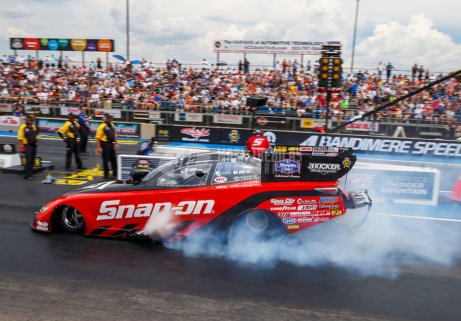 Jul 23, 2017; Morrison, CO, USA; NHRA funny car driver Cruz Pedregon during the Mile High Nationals at Bandimere Speedway. Mandatory Credit: Mark J. Rebilas-USA TODAY Sports
