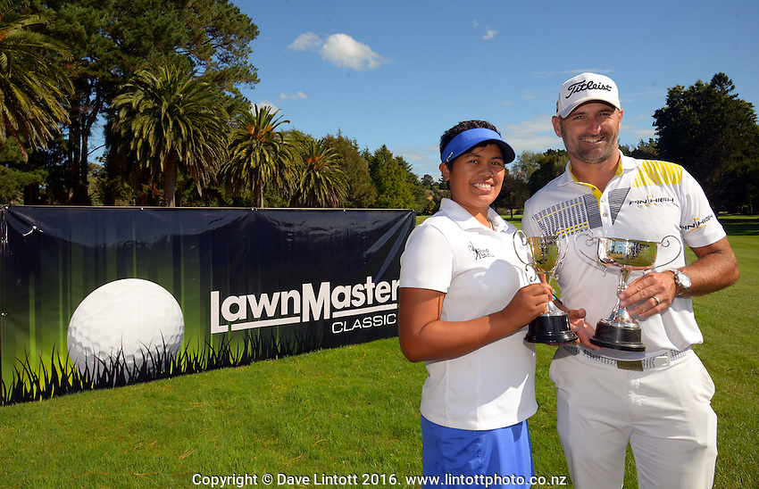 Tournament champions Chantelle Cassidy and Michael Hendry. The final day of the Jennian Homes Charles Tour Lawnmaster Classic Manawatu Open at Manawatu Golf Club, Palmerston North, New Zealand on Saturday, 20 March 2016. Photo: Dave Lintott / lintottphoto.co.nz
