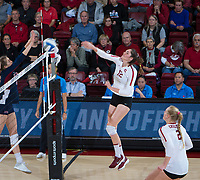STANFORD, CA - December 1, 2018: Audriana Fitzmorris, Kathryn Plummer at Maples Pavilion. The Stanford Cardinal defeated Loyola Marymount 25-20, 25-15, 25-17 in the second round of the NCAA tournament.