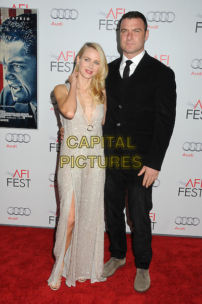 "Naomi Watts and Liev Schreiber.AFI Fest 2011 Opening Night Gala Premiere of ""J. Edgar"" held at Grauman's Chinese Theatre, Hollywood, California, USA..November 3rd, 2011.full length cream silver white sequins sequined gold necklace plunging neckline gown slit split beaded beads Twenties-style gown 20s vintage cream wrap black suit couple hand arm.CAP/ADM/BP.©Byron Purvis/AdMedia/Capital Pictures."