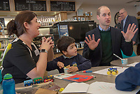04/02/2020 -  Prince William Duke of Cambridge during a visit to Joe's Ice Cream Parlour in the Mumbles Swansea  where they met a group of local parents and carers to hear about life in the Mumbles and talk about The Duchess's landmark survey on the early years 5 Big Questions on the Under Fives. The survey was launched on the 21st January and aims to spark a UK-wide conversation on raising the next generation. Photo Credit: ALPR/AdMedia