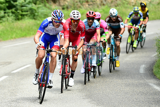 "The breakaway group 3'50"" ahead during Stage 1 of the 2018 Criterium du Dauphine 2018 running 179km from Valence to Saint-Just-Saint-Rambert, France. 4th June 2018.<br /> Picture: ASO/Alex Broadway 