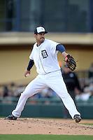 Detroit Tigers pitcher Luke Putkonen (39) during a spring training game against the Atlanta Braves on February 27, 2014 at Joker Marchant Stadium in Lakeland, Florida.  Detroit defeated Atlanta 5-2.  (Mike Janes/Four Seam Images)