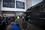 Derby County 1 Nottingham Forest 2, 17/01/2015. iPro Stadium, Championship. Supporters watching the arrival of visiting players outside the iPro Stadium, pictured before Derby Country's Championship match against Nottingham Forest. The match was won by the visitors by 2 goals to 1, watched by a derby-day crowd of 32,705. The stadium, opened in 1997, was formerly known as Pride Park. Photo by Colin McPherson.