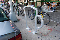 "New York, NY 22 August 2008 - One of nine bicycle racks designed by David Byrne of the Talking Heads, entitled ""The Coffee Cup"" on Amsterdam Avenue on the Upper West Side."