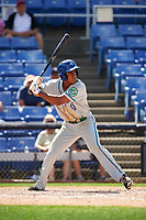 Hartford Yard Goats shortstop Luis Jean (17) at bat during a game against the Binghamton Rumble Ponies on July 9, 2017 at NYSEG Stadium in Binghamton, New York.  Hartford defeated Binghamton 7-3.  (Mike Janes/Four Seam Images)