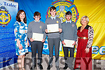 Students collecting CBS Academic Achievements awards at their awards evening in Rose Hotel on Thursday night.<br /> L to r: Maura Fitzgerald (Teacher), Padraig Creen, Michael Kirby, Michael Carroll and Ann O'Callaghan (Principal).