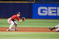 Boston Red Sox Chad De La Guerra (7) waits for a throw as Peter Maris (out of frame) slides into second during an instructional league game against the Tampa Bay Rays on September 24, 2015 at Tropicana Field in St Petersburg, Florida.  (Mike Janes/Four Seam Images)