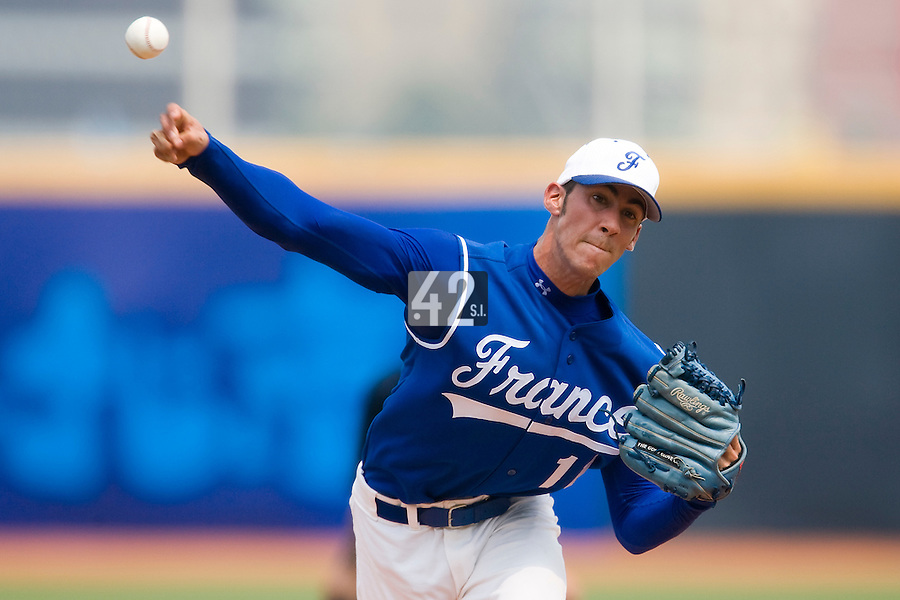 18 August 2007: Pitcher #11 Matthieu Brelle Andrade pitches during the China 5-1 victory over France in the Good Luck Beijing International baseball tournament (olympic test event) at the Wukesong Baseball Field in Beijing, China.
