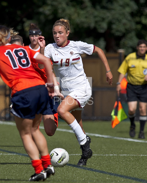 Boston College midfielder Kristen Mewis (19) on the attack. Boston College defeated University of Virginia, 2-0, at the Newton Soccer Field, on September 18, 2011.
