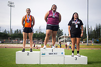 Sabrina Degnan '19 finished 2nd in the shot put<br /> The Occidental College men's and women's track and field teams compete in the 2019 Southern California Intercollegiate Athletic Conference (SCIAC) Track and Field Championships at the Claremont-Mudd-Scripps Burns Track Complex in Claremont, Calif. on Sunday, April 28, 2019.<br /> After the two-day SCIAC Championships CMS scored 211.50 points, followed by Pomona-Pitzer (171.50), Redlands (114), Occidental (92.50), Whittier (57.50), La Verne (54), Cal Lutheran (48), Chapman (23) and Caltech (4).