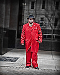 Street photography, man on the street, dude, red suit, people,