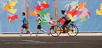 New York, NY -  13 August 2011 Runners and cyclist at Summer Streets