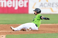 Kane County Cougars catcher Jose Herrera (10) slides into second base during a Midwest League game against the Cedar Rapids Kernels at Northwestern Medicine Field on April 28, 2019 in Geneva, Illinois. Cedar Rapids defeated Kane County 3-2 in game two of a doubleheader. (Zachary Lucy/Four Seam Images)