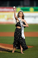 Teen West Virginia United States 2018 Jacqueline Shaffer throws a ceremonial first pitch prior to the South Atlantic League game between the Lexington Legends and the West Virginia Power at Appalachian Power Park on June 7, 2018 in Charleston, West Virginia. The Power defeated the Legends 5-1. (Brian Westerholt/Four Seam Images)