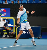 3rd January 2020; RAC Arena, Perth, Western Australia; ATP Cup Australia, Perth, Day 1, Russia versus Italy; Paolo Lorenzi of Italy plays a forehand shot against Russia in the doubles - Editorial Use