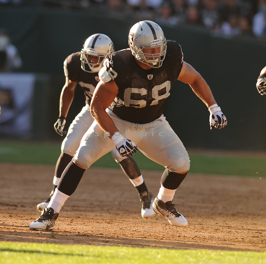 JARED VELDHEER, of the Oakland Raiders, in action during the Raiders game against the New Orleans Saints on August 28, 2011 at O.co Coliseum in Oakland, CA. The Saints beat the Raiders 40-20.