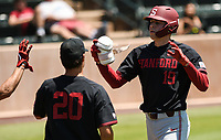 Stanford, Ca - June 2, 2019: The Stanford Cardinal vs Sacramento State Hornets NCAA Regional baseball game at Sunken Diamond in Stanford, CA.