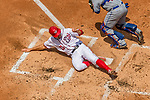 30 April 2017: Washington Nationals first baseman Ryan Zimmerman slides home to score Washington's third run in the first inning against the New York Mets at Nationals Park in Washington, DC. The Nationals defeated the Mets 23-5, with the Nationals setting several individual and team records, in the third game of their weekend series. Mandatory Credit: Ed Wolfstein Photo *** RAW (NEF) Image File Available ***